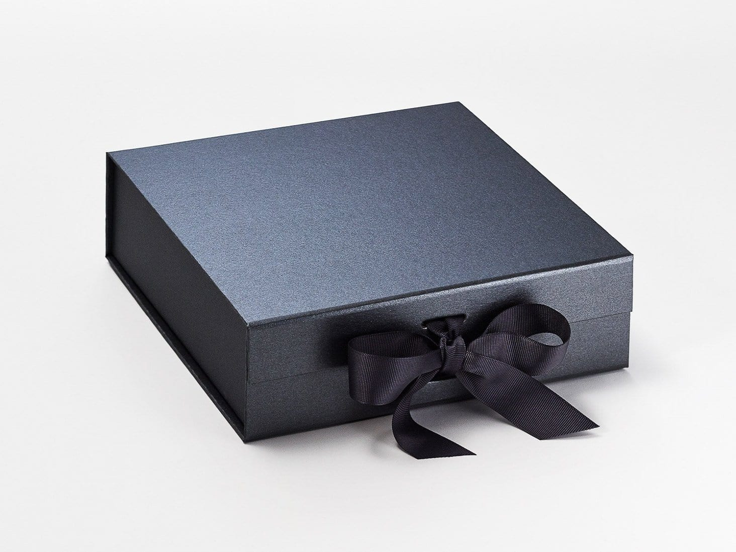 Medium Pewter Luxury Gift Box with changeable ribbon and magnetic closures
