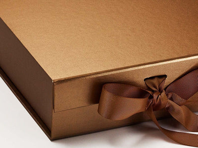 Medium Copper Folding Gift Box Sample Ribbon Detail