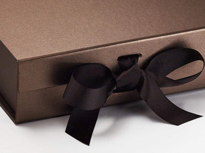 Bronze Gift Boxes supplied with Licorice Grosgrain Ribbon