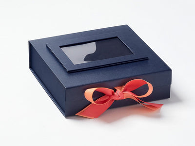 Navy Blue Gift Box Featured with Perfect Peach and Watermelon Double Ribbon Bow