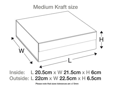 Natural Kraft Medium Folding Gift Box Assembled Size Line Drawing