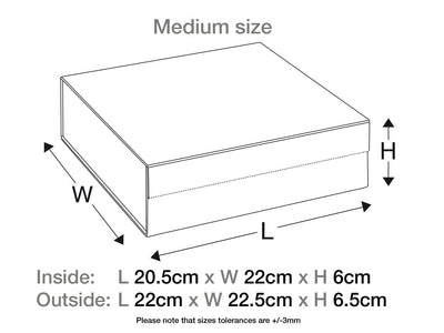 Medium Black Fixed Ribbon Gift Box Assembled Size Line Drawing