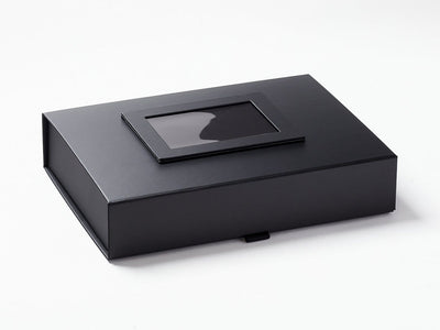 Black Photo Frame on Lid of Black A4 Shallow Gift Box