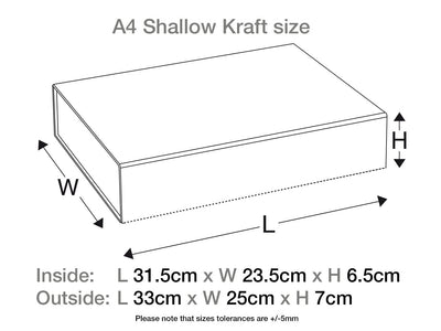 Natural Kraft A4 Shallow Folding Gift Box Assembled Size