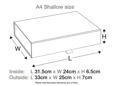 White A4 Shallow Folding Gift Box Sample Assembled Size