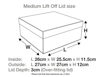 White Medium Lift Off Lid Gift Box Assembled Size
