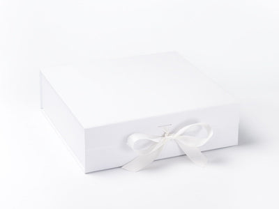 White Large Folding Gift Box with Fixed Ribbon Ties