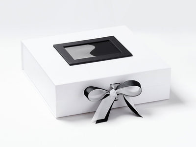 Black Photo  Frame on Lid of White Large Gift Box with Black Ribbon Double Bow