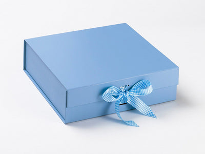 Pale Blue and White Gingham Ribbon with Large Pale Blue Gift Box