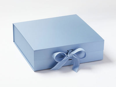 Pale Blue Large Gift Box Sample with Changeable Ribbon