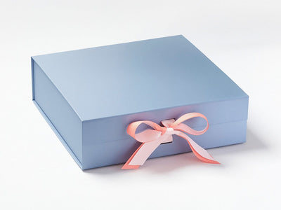 Pale Blue Gift Box Featured with Powder Pink and Light Coral Ribbon Double Bow