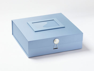 Pale Blue Large Gift Box with Pearl Dome Closure and Pale Blue Photo  Frame