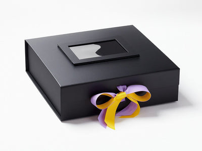 Black Photo Frame on Lid of Black Large Gift Box with Daffodil and Hyacinth Ribbon