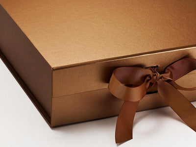 Large Copper Gift Box Sample Ribbon Detail