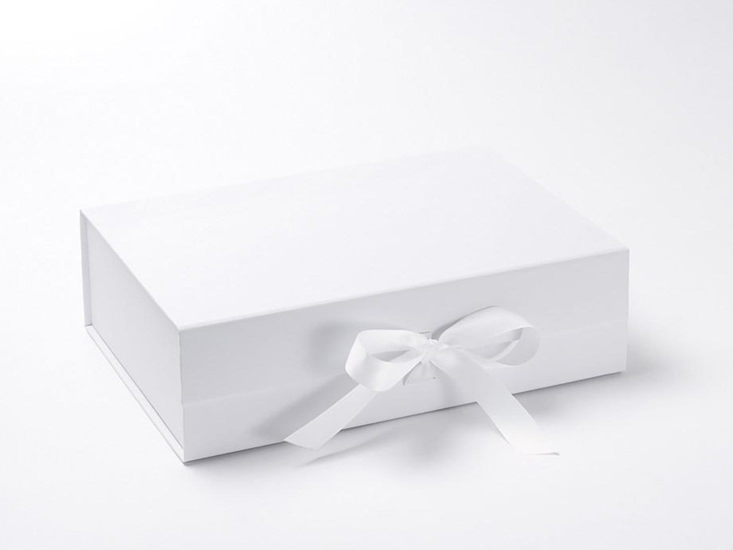 White A4 Deep Luxury Gift Box sample with fixed ribbon ties