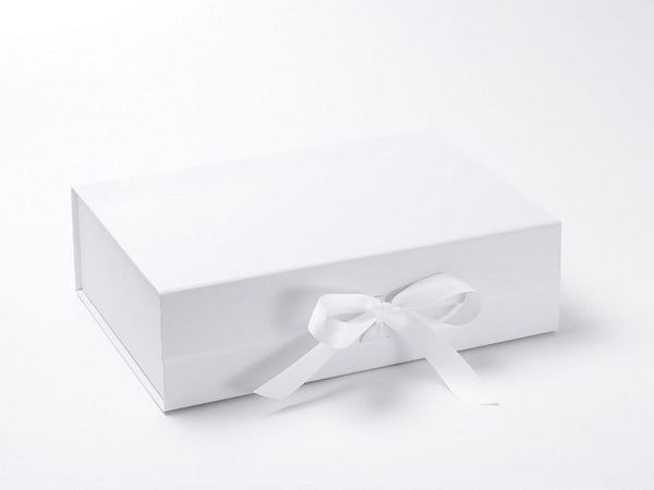 Luxury folding gift boxes and hamper boxes with fixed ribbon white a4 deep folding gift box with fixed grosgrain ribbon ties negle Choice Image