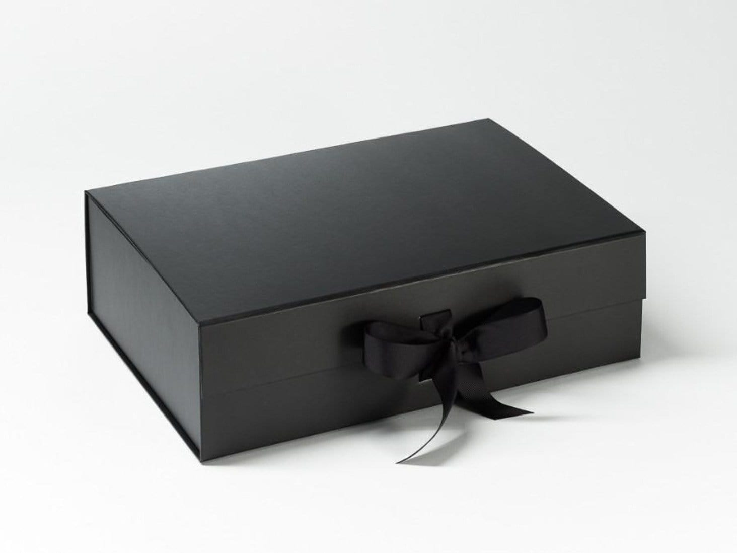 Black A4 Deep gift box sample with fixed black grosgrain ribbon