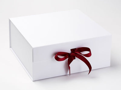 White XL Deep Gift Box Featured with Sherry Ribbon