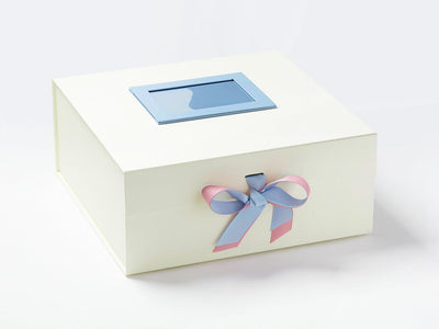 Ivory Gift Box Featuring Rose Pink and French Blue Double Ribbon Bow with Blue Photo Frame