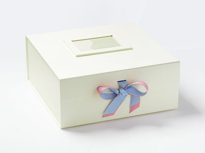 Ivory XL  Deep Gift Bow with Rose Pink and Bluebird Double Ribbon Bow and Ivory Photo Frame