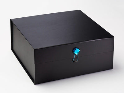 Black XL Deep Gift Box with Blue Tourmaline Gemstone Closure