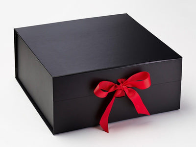 Black XL Deep Gift Box featured with Bright Red Ribbon