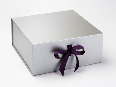 Silver XL Deep Gift Box Featured with Regal Purple Ribbon