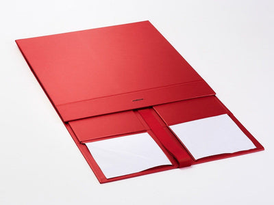 Red XL Deep Folding Gift Box Sample Supplied Flat with Ribbon
