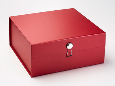 Red Folding Gift Box with Silver Dome Closure