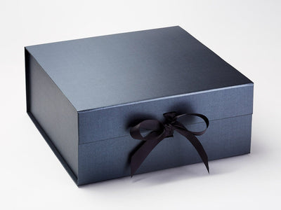 Sample Pewter XL Deep Gift Box with Changeable Ribbon supplied with Dark Grey Ribbon