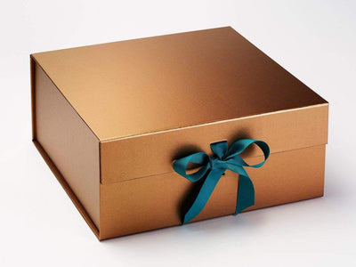 Copper XL Deep Gift Box with Jade Green Ribbon