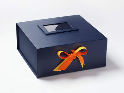 Navy Blue Gift Box Featuring Tangerine and Chamois Double Ribbon Bow with Navy Photo Frame