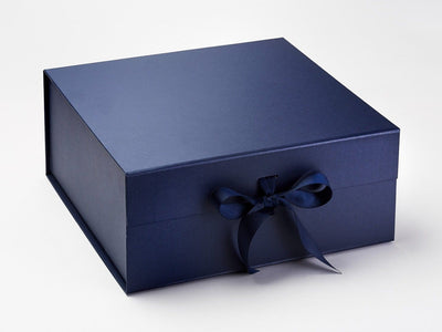 Navy Blue XL Deep Gift Box with Changeable Ribbon Supplied with Matching Ribbon