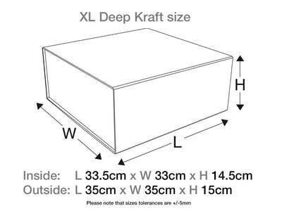 Natural Kraft XL Deep Gift Box Assembled Size