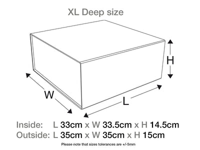 White XL  Deep Gift Box No Ribbon Assembled Size
