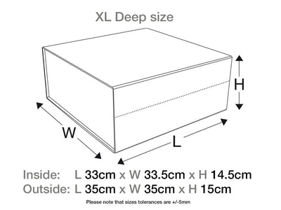 White XL Deep Gift Box with Changeable Ribbon Assembled Size