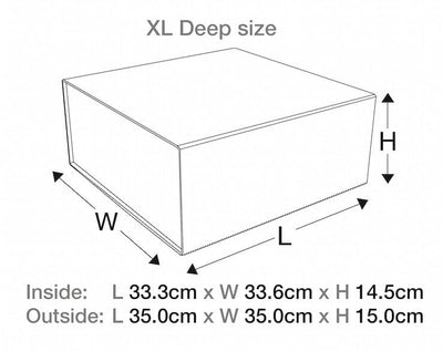 White XL Deep Folding Gift Box Assembled Size Line Drawing