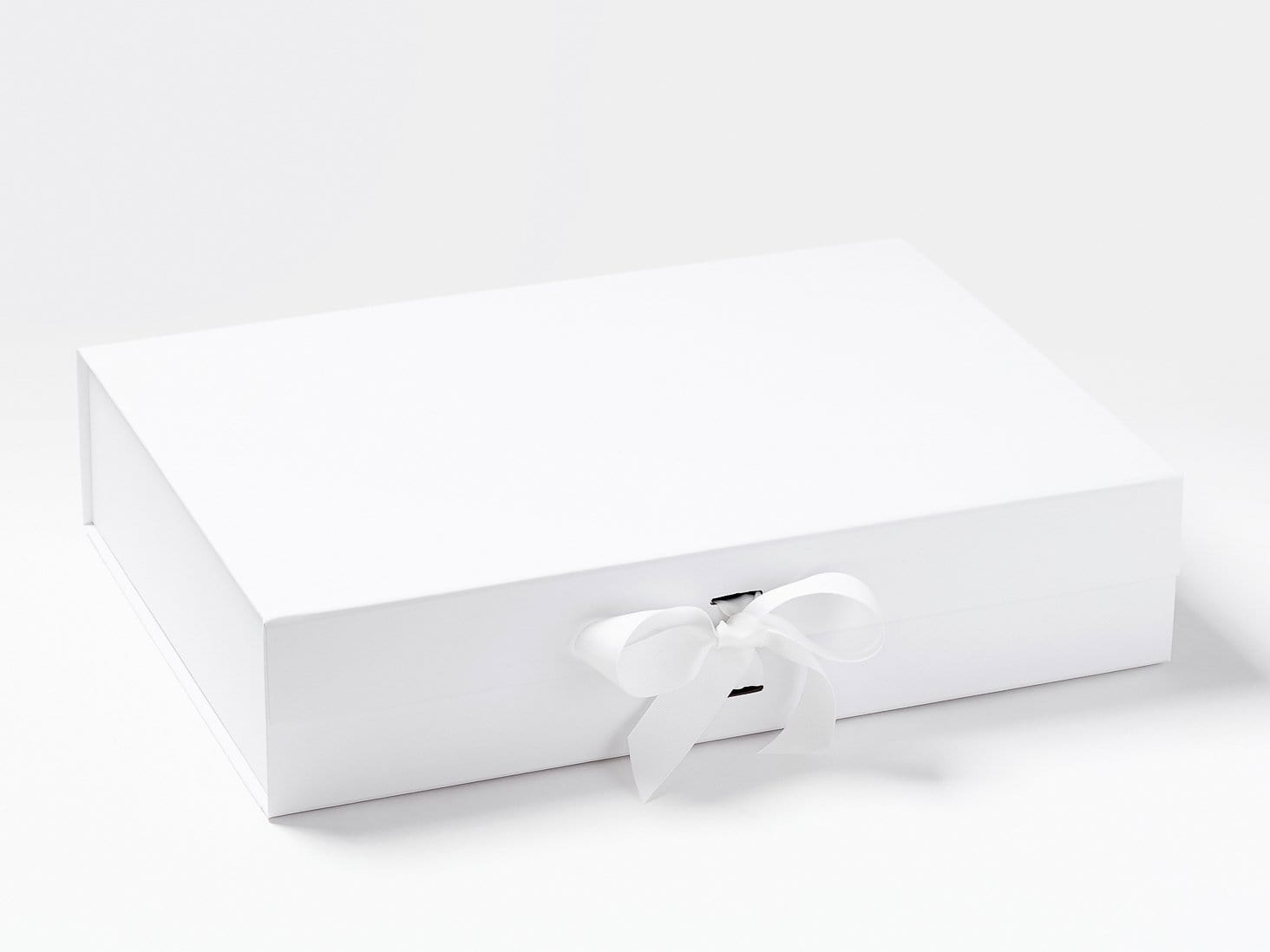 White A3 Shallow Gift Box with Changeable Ribbon