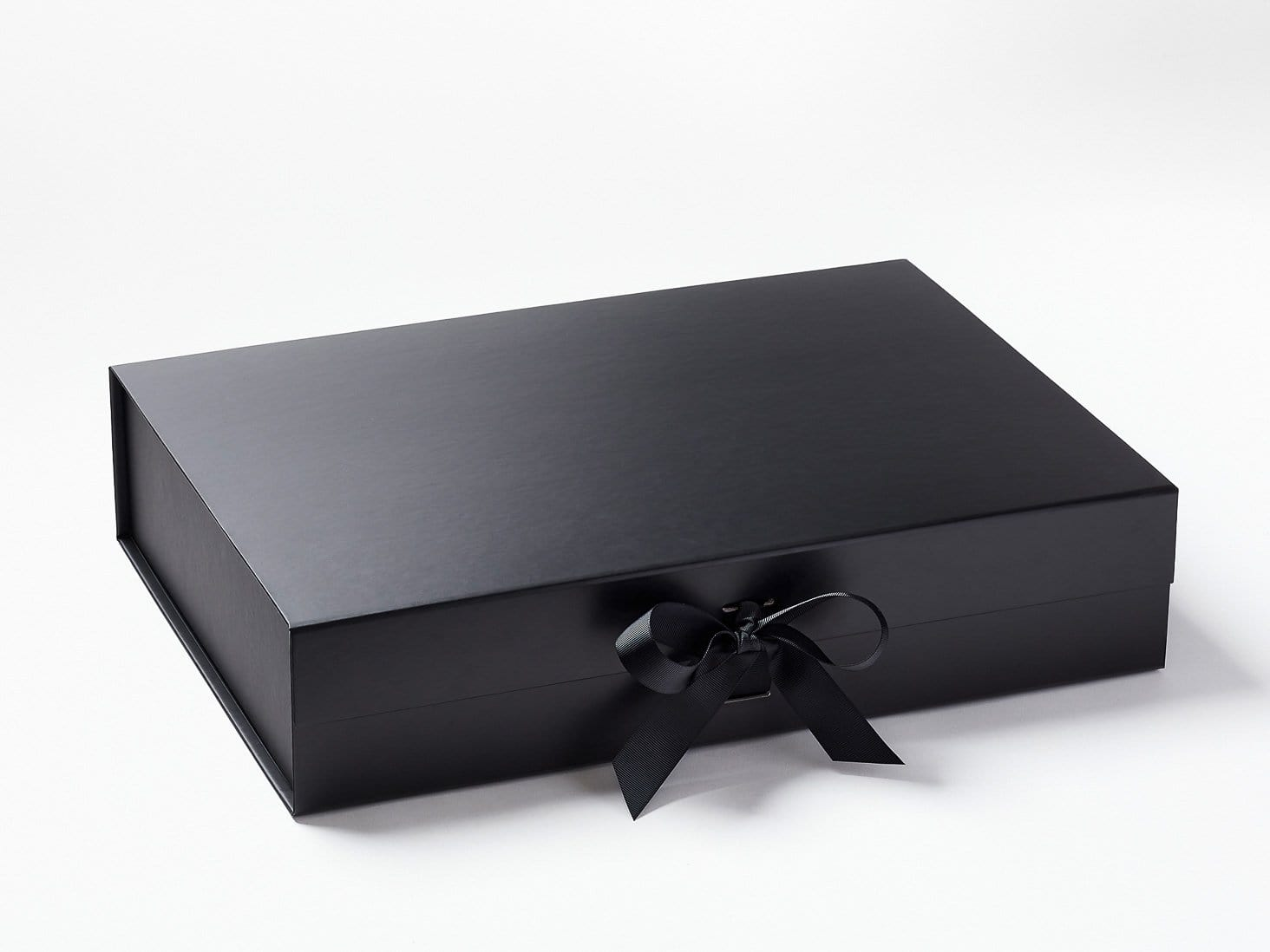 Black A3 Shallow Folding Gift Box with Changeable Ribbon
