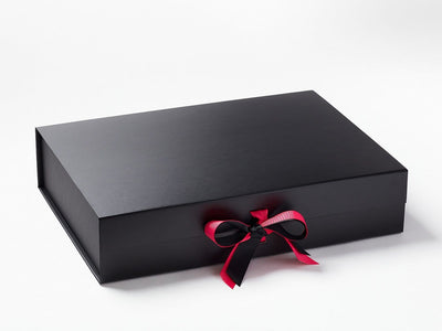 Black A3 Shallow Gift Box with Hot Pink Double Ribbon Bow