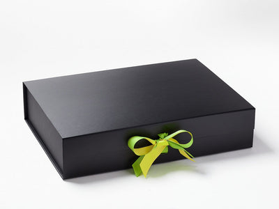 Lemon Yellow and Jasmine Greem Doubke Ribbon Bow on Black A3 Shallow Gift Box