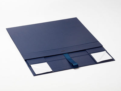 Navy Blue A3 Shallow Gift Box Sample Supplied Flat with Ribbon