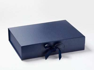 Navy A3 Shallow Gift Box with Changeable Ribbon
