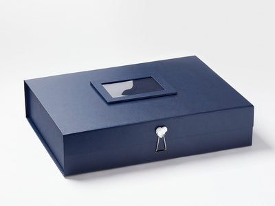 Navy Blue A3 Shallow Gift Box with Diamond Heart Closure and Navy Blue Photo Frame