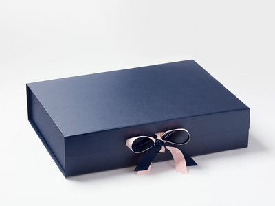 Navy Blue A3 Shallow Gift Box with Pink Saddle Stitched Ribbon Double Bow