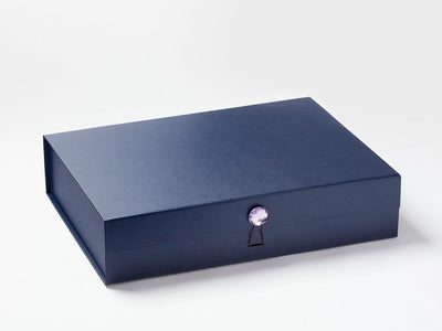 Navy Blue A3 Shallow Gift Box Featured with Purple Sapphire Decorative Closure