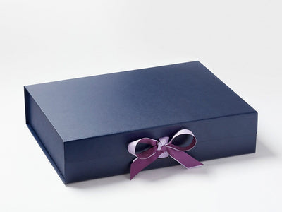 Navy Blue A3 Shallow Gift Box with Orchid and Amethyst Ribbon Double Bow