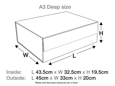 Black A3 Deep Gift Box Assembled Size Line Drawing