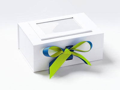 White A5 Deep Gift Box with Pineapple and Royal Blue Double Ribbon Bow and White Photo Frame