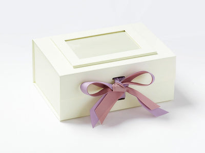 Ivory A5 Deep with Rose Quartz and Light Orchid Double Ribbon Bow